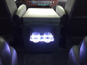 2010 Chevrolet Express Coach, Wood & Acrylic Back-Lit Cup Holders