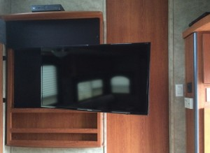 Keystone Travel Trailer, Articulating TV Mount and Samsung 40-inch LED TV