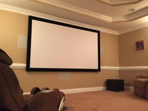 Optoma Projector, EPV 110-inch Screen, Onkyo Reciever, Polk Audio In-Wall Speakers, and Polk Audio Subwoofers